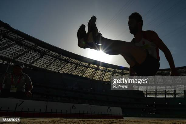 Alper Kulaksiz of Turkey competes in Men's Long Jump final during day four of Athletics at Baku 2017 4th Islamic Solidarity Games at Baku Olympic...