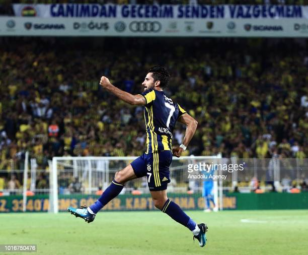 Alper Potuk of Fenerbahce celebrates his goal during UEFA Champions League third qualifying round's second leg match between Fenerbahce and Benfica...