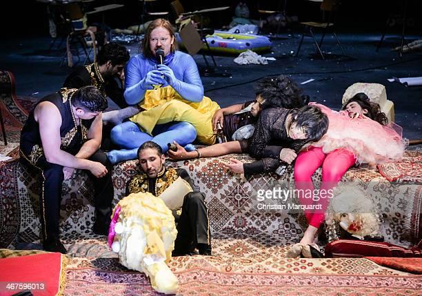 Alper Senocak, Ketan Bhatti, Vivian BhattiIbrahima Balde, Sueheyla Uenlue, Christoph Franken and Marof Yaghoubi perform on stage during rehearsals...