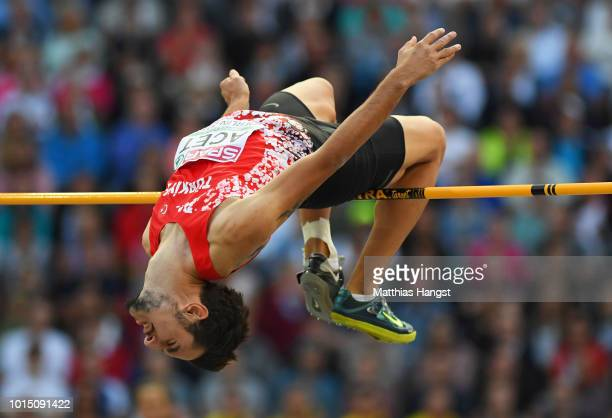Alperen Acet of Turkey competes in the Men's High Jump Final during day five of the 24th European Athletics Championships at Olympiastadion on August...