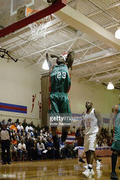 Alpha Bangura of the North Charleston Lowgators looks to dunk against the Columbus Riverdragons during the NBDL game on January 29 2004 at Fort...