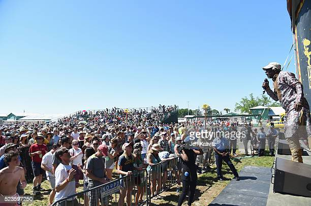 Alpha Blondie and the Solar System perform onstage at the 2016 New Orleans Jazz Heritage Festival at Fair Grounds Race Course on April 23 2016 in New...