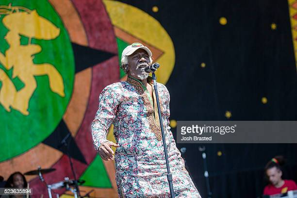 Alpha Blondy The Solar System performs during the New Orleans Jazz Heritage Festival at the New Orleans Jazz Heritage Festival at Fair Grounds Race...