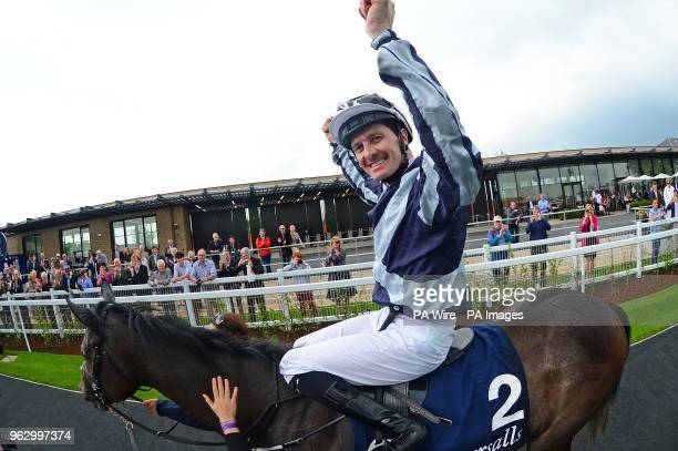 Alpha Centauri and jockey Colm O'Donoghue after winning the Tattersalls 1000 Guineas during day two of the 2018 Tattersalls Irish Guineas Festival at...