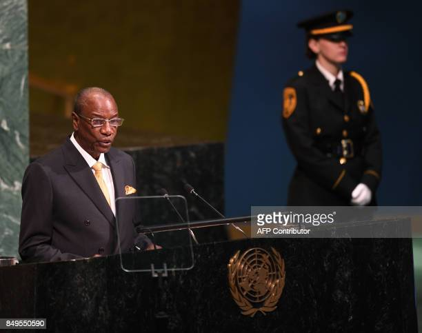 Alpha Condé President of the Republic of Guinea addresses the United Nations General Assembly September 19 2017 at the United Nations in New York /...