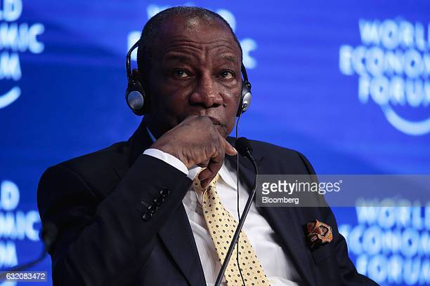 Alpha Conde Guinea's president looks on during a panel session at the World Economic Forum in Davos Switzerland on Thursday Jan 19 2017 World leaders...