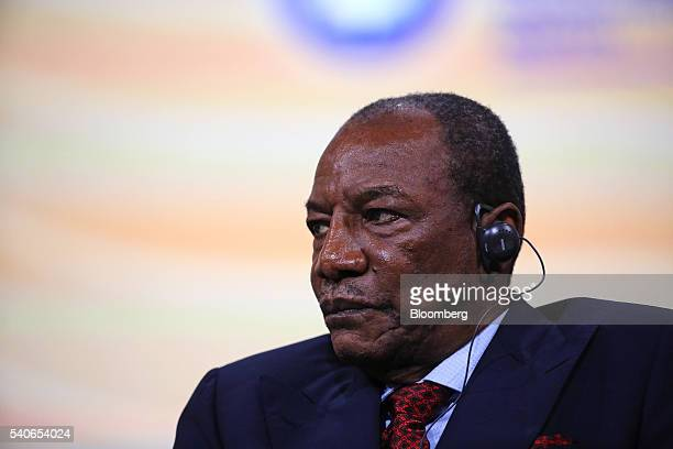 Alpha Conde Guinea's president looks on during a plenary session on the opening day of the St Petersburg International Economic Forum 2016 in Saint...