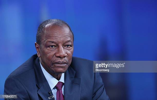 Alpha Conde Guinea's president pauses during a Bloomberg Television interview in London UK on Friday June 14 2013 Guinea's $51 billion economy is...