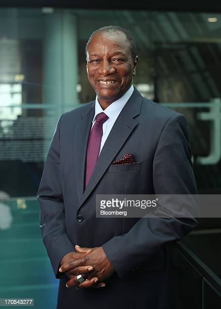 Alpha Conde Guinea's president poses for a photograph following a Bloomberg Television interview in London UK on Friday June 14 2013 Guinea's $51...
