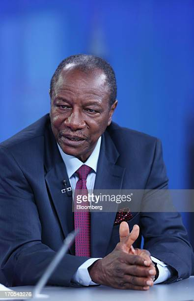 Alpha Conde Guinea's president speaks during a Bloomberg Television interview in London UK on Friday June 14 2013 Guinea's $51 billion economy is...
