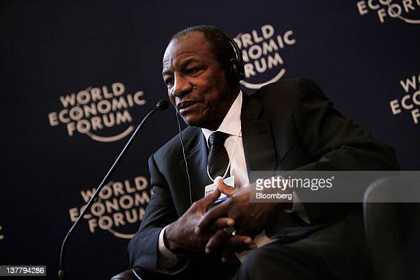Alpha Conde Guinea's president speaks during a session on day three of the World Economic Forum in Davos Switzerland on Friday Jan 27 2012 The 42nd...