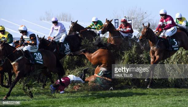 TOPSHOT Alpha des Obeaux unseats jockey Rachael Blackmore at The Chair during the Grand National horse race on the final day of the Grand National...