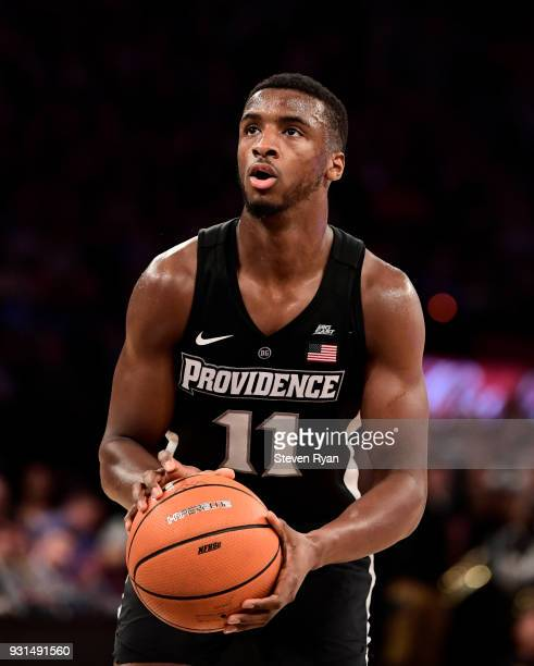 Alpha Diallo of the Providence Friars attempts a free throw against the Villanova Wildcats during the championship game of the Big East Basketball...