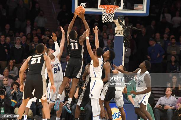 Alpha Diallo of the Providence Friars drives to the basket during the quarterfinal round the Big East Men's Basketball Tournament against the...
