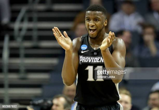 Alpha Diallo of the Providence Friars reacts after a play against the Texas AM Aggies during the first round of the 2018 NCAA Men's Basketball...