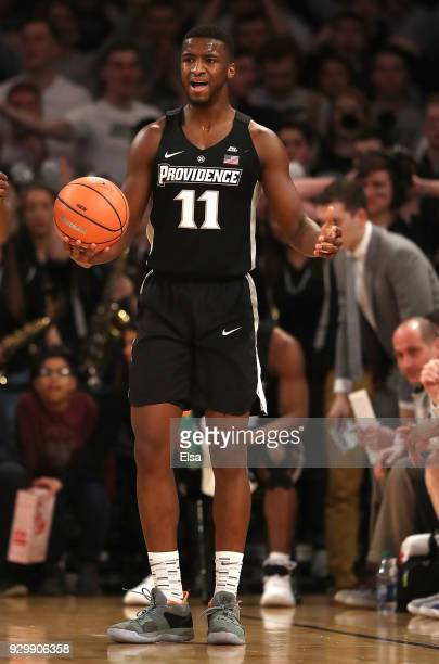Alpha Diallo of the Providence Friars reacts to a call in the first half against the Xavier Musketeers during semifinals of the Big East Basketball...