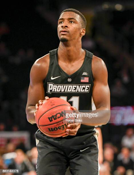 Alpha Diallo of the Providence Friars shoots a free throw during a game against the Washington Huskies in the 2K Classic at Madison Square Garden on...
