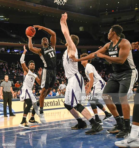 Alpha Diallo of the Providence Friars shoots during a game against the Washington Huskies in the 2K Classic at Madison Square Garden on November 16...