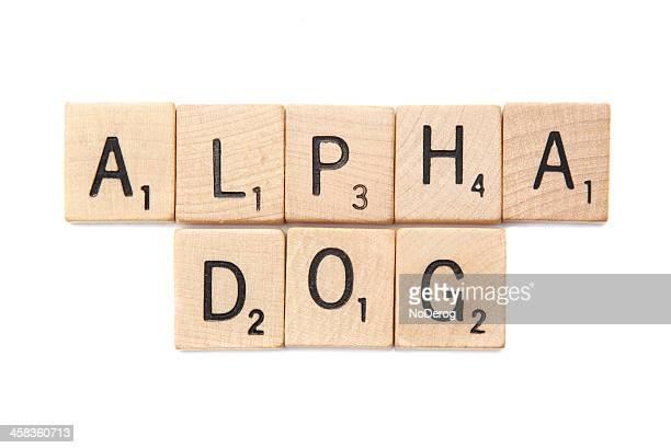 Alpha Dog spelled in Scrabble letter tiles