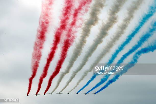 Alpha Jet from the French Air Force Patrouille de France fly the traditional Bastille Day military parade on the ChampsElysees avenue Avenue on July...