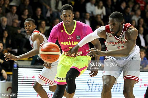 Alpha Kaba 24 Moummadou Jaiteh 14 in action during SIG Strasbourg v Mega Leks from gameday 5 in the Basketball Champions League in Strasbourg France...