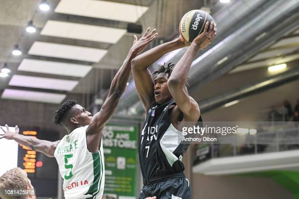 Alpha Kaba of Asvel and Lahaou Konate of Nanterre during the Jeep Elite match between Nanterre and Lyon Villeurbanne on January 12 2019 in Nanterre...