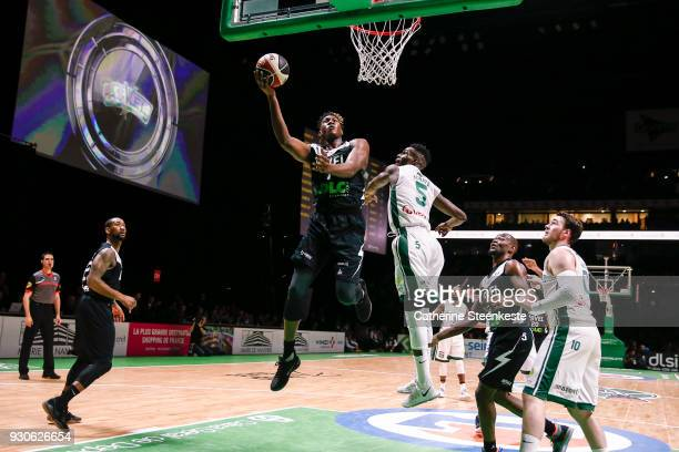 Alpha Kaba of ASVEL Lyon Villeurbanne is at the basket against Lahaou Konate of Nanterre 92 during the Jeep¨ ELITE match between Nanterre 92 and...