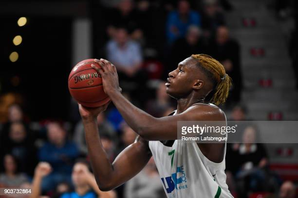 Alpha Kaba of Lyon Villeurbanne during the EuroCup match between Lyon Villeurbanne and Reggio Emilia at The Astroballe on January 10 2018 in...