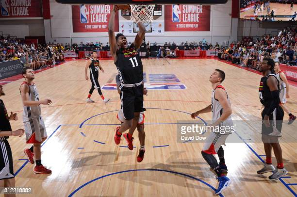 Alpha Kaba of the Atlanta Hawks dunks against the Chicago Bulls during the 2017 Las Vegas Summer League on July 10 2017 at the Cox Pavilion in Las...