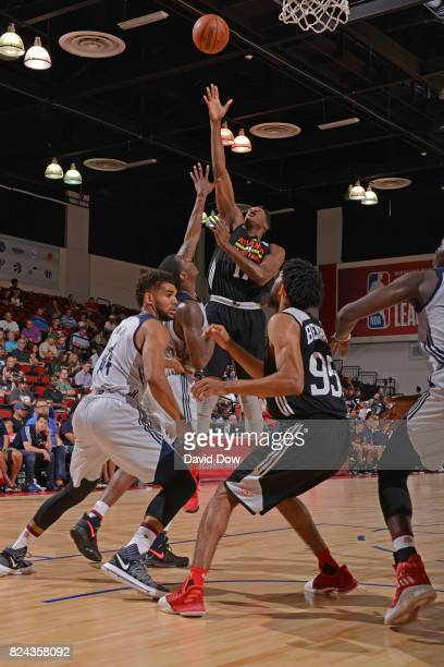Alpha Kaba of the Atlanta Hawks goes for the rebound during the game against the New Orleans Pelicans on July 9 2017 at the Cox Pavilion in Las Vegas...