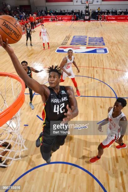 Alpha Kaba of the Atlanta Hawks goes to the basket against the Chicago Bulls during the 2018 Las Vegas Summer League on July 10 2018 at the Cox...