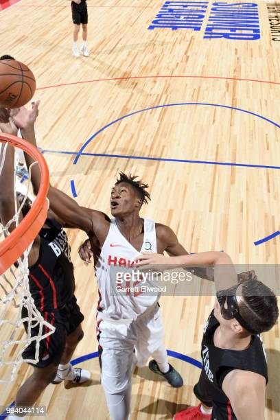 Alpha Kaba of the Atlanta Hawks goes to the basket against the Portland Trail Blazers during the 2018 Las Vegas Summer League on July 8 2018 at the...