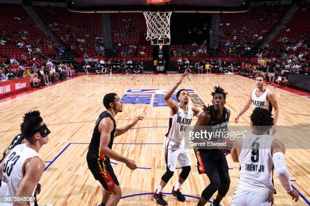 Alpha Kaba of the Atlanta Hawks handles the ball against the Portland Trail Blazers during the 2018 Las Vegas Summer League on July 12 2018 at the...