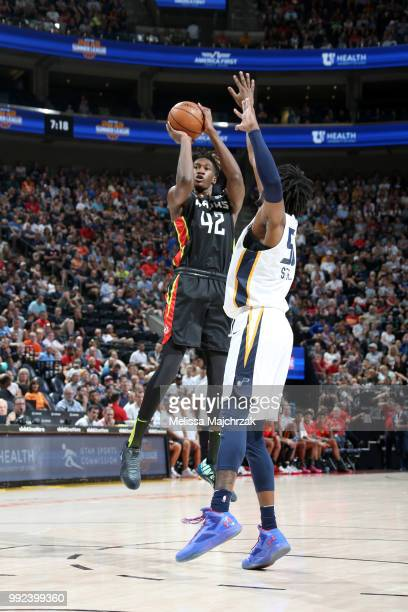 Alpha Kaba of the Atlanta Hawks shoots the ball against the Utah Jazz on July 5 2018 at Vivint Smart Home Arena in Salt Lake City Utah NOTE TO USER...