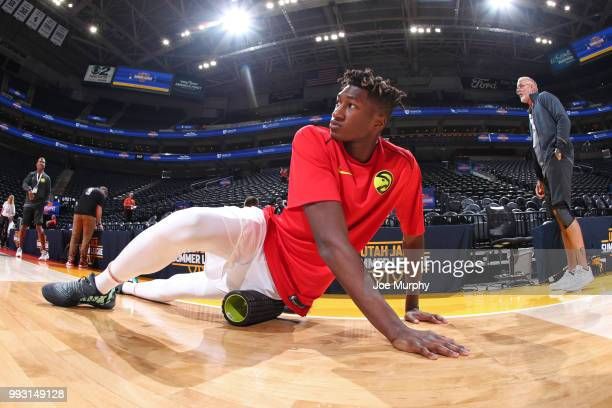 Alpha Kaba of the Atlanta Hawks warms up before the game against the San Antonio Spurs on July 3 2018 at Vivint Smart Home Arena in Salt Lake City...