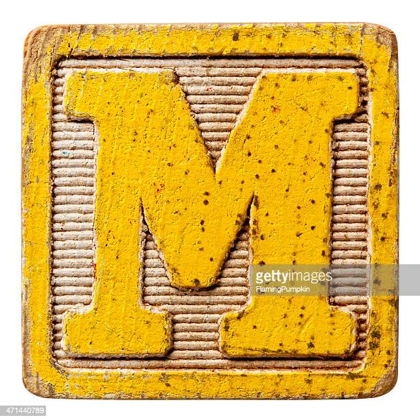Alphabet - Antique Block Letters, Isolated on White. Letter M.