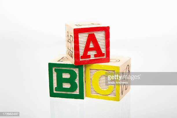 Alphabet building blocks letters A, B and C