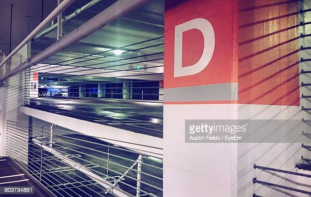 Alphabet D On Column In Parking Garage