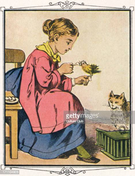 Alphabet des Petites Filles c 1860 French fairy tale Girl holding bird watched by cat