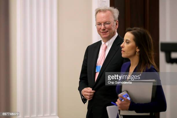 Alphabet Executive Chairman Eric Schmidt arrives for the inaugural meeting of the American Technology Council in the Indian Treaty Room at the...