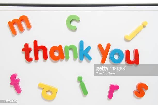 Alphabet fridge magnets spelling 'thank you'