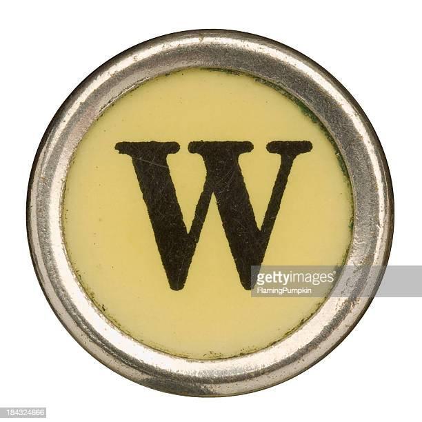 alfabeto-letra w do manual velha máquina de escrever. - letra w - fotografias e filmes do acervo