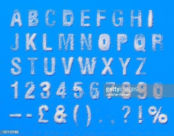 Alphabet made from salt