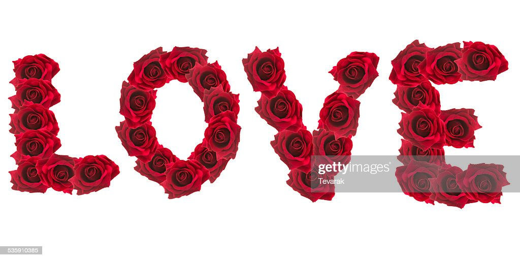 LOVE, alphabet of Stack of rose : Stock Photo