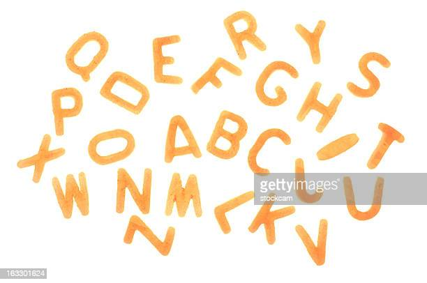 Alphabet Pasta letters on white background