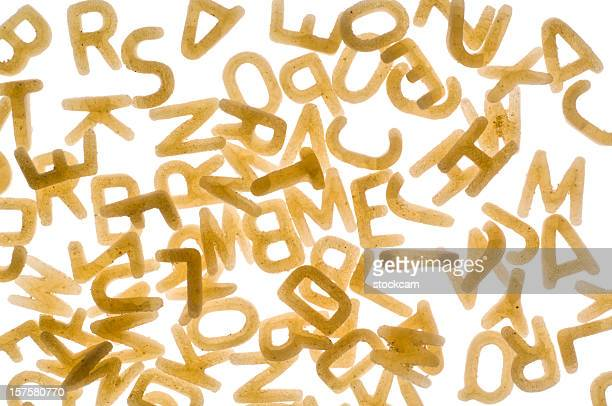 Alphabet Pasta letters on white