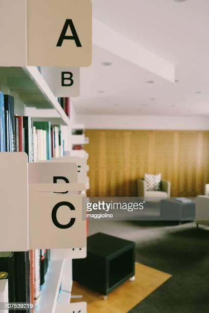 Alphabets On Bookshelves In Library