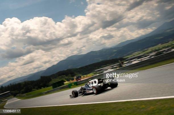 AlphaTauri's French driver Pierre Gasly drives during the first practice session at the Red Bull Ring race track in Spielberg, Austria, on June 25...