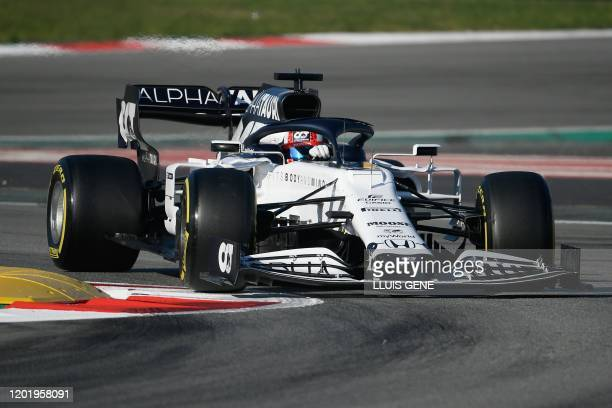 AlphaTauri's French driver Pierre Gasly drives during the tests for the new Formula One Grand Prix season at the Circuit de Catalunya in Montmelo in...