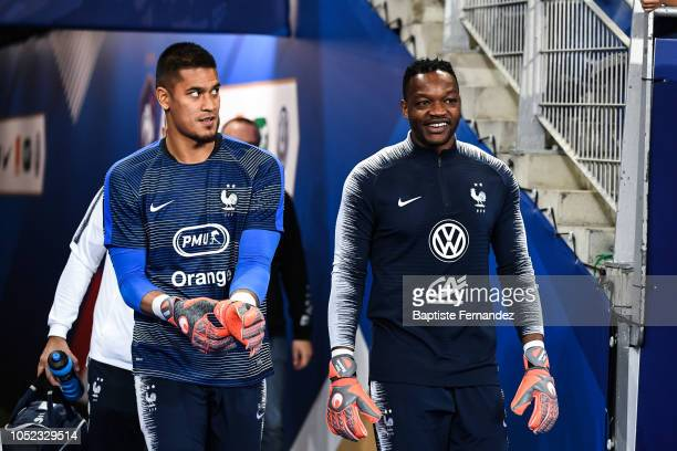 Alphone Areola of France and Steve Mandanda of France during the UEFA Nations League A group one match between France and Germany at Stade de France...
